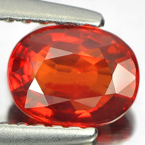0.99 Ct. Natural Gemstone Orangish Red Songea Sapphire Oval Shape 6.5 x 5 Mm.
