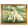 1700.00 Ct. Charming Baguette Inlaid Gems Artwork Of Family Dog