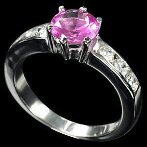 Pink Cubic Zirconia Sterling Silver Ring Size 7.5