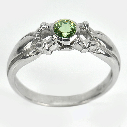 BEAUTIFUL GREEN SAPPHIRE WHITE GOLD PLATED SILVER RING Sz 7.5