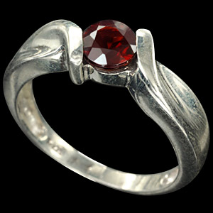 Natural Red Garnet White Gold Plated Silver Ring Sz 9.5