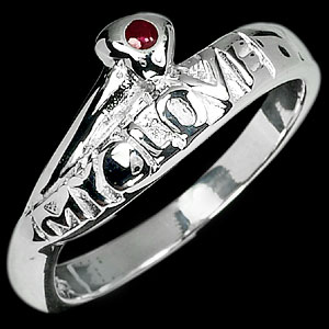 3.13 G. Natural Red Ruby Sterling Silver Ring Sz 7