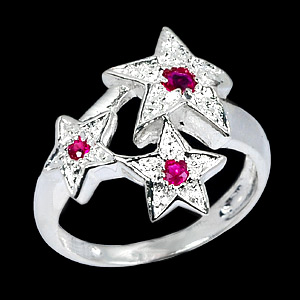 2.77 G. Natural Ruby Silver 925 Ring Jewelry Sz 4.5