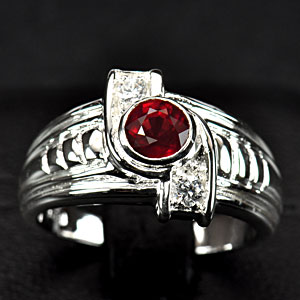 4.95 G. Natural Purplish Red Ruby Silver Jewelry  Ring Sz 6.5
