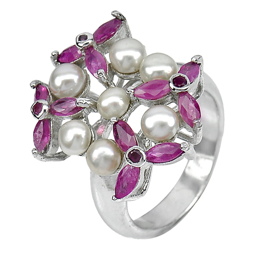 9.19 G. Gem Natural White Pearl And Ruby Real 925 Sterling Silver Ring Size 8