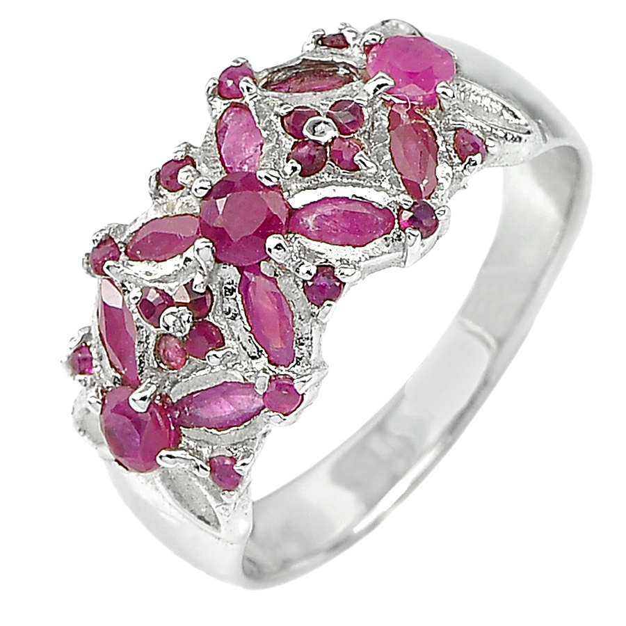 4.42 G. Natural Gemstones Purplish Pink Ruby Real 925 Sterling Silver Ring Size9