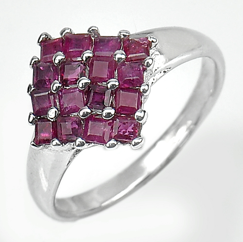 2.80 G. Natural Gemstone Square Red Ruby Real 925 Sterling Silver Ring Size 8