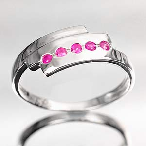 1.55 G. Natural Purplish Red Ruby Silver Jewelry Ring