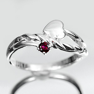 2.02G. Natural Purplish Red Ruby Silver Jewelry Ring