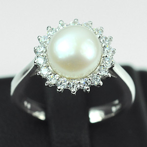 3.29 G. Natural White Pearl with CZ Real 925 Silver Jewelry Ring Size 6.5