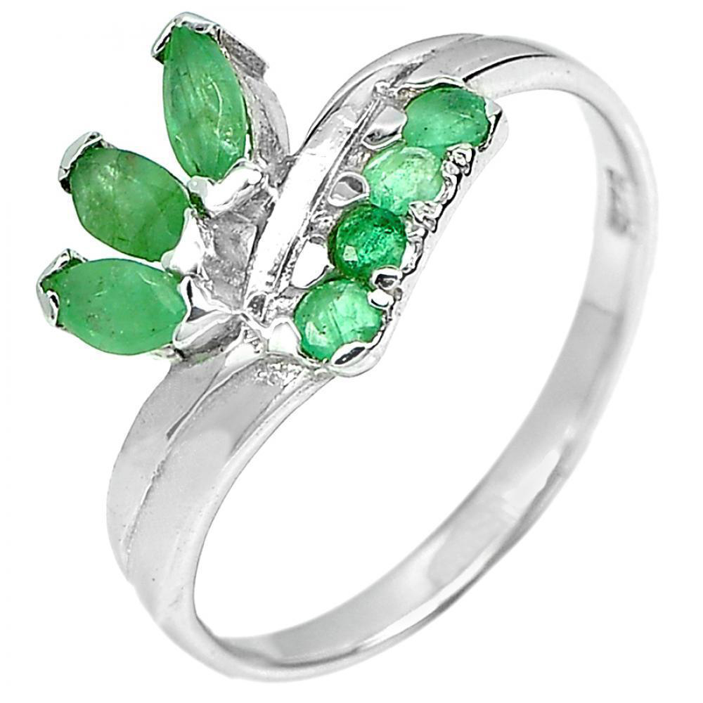 1.83 G. Natural Gemstone Green Emerald Real 925 Sterling Silver Ring Size 7