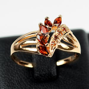 Nice Rhodolite Garnet Silver Rose Gold Plated Ring Sz 8