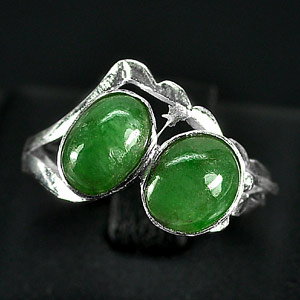 2.79 G. Colorful Natural Green Jade Sterling Silver Ring Size 7