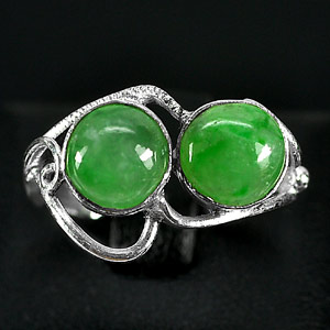 3.11 G. Alluring Natural Green Jade Sterling Silver Ring Size 7