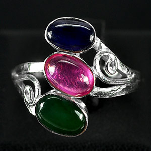 2.76 G. Natural Jade Ruby Sapphire Sterling Silver Ring Size 6.5