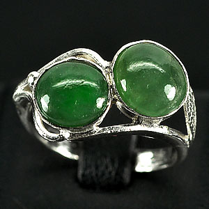 3.38 G. Pretty Natural Green Jade Sterling Silver Ring Size 7.5