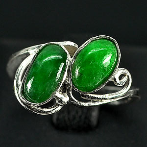 2.61 G. Matey Natural Green Jade Sterling Silver Ring Size 5.5