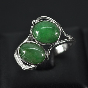 2.84 G. Natural Green Jade Sterling Silver Ring Size 6