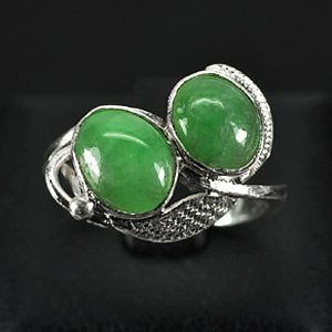 2.82 G. New Design Natural Green Jade Sterling Silver Ring Size 5.5