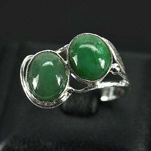 2.98 G. Attractive Natural Green Jade Sterling Silver Ring Size 6