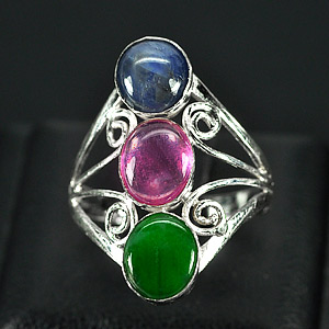 2.81 G. Captivating Natural Jade Ruby Sapphire Sterling Silver Ring Size 7.5