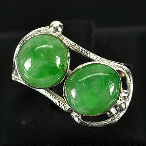 3.34 G. Nice-Looking Natural Green Jade Sterling Silver Ring Size 6