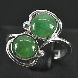 2.79 G. Seductive Natural Green Jade Sterling Silver Ring Size 5.5