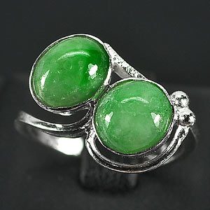 3.23 G. Interesting Natural Green Jade Sterling Silver Ring Size 7