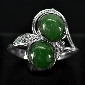 3.27 G. Pretty Natural Green Jade Sterling Silver Ring Size 6.5