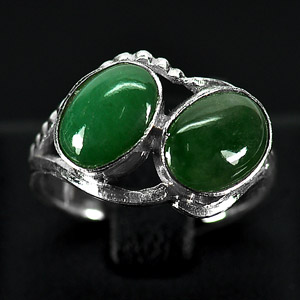 2.90 G. Oval Cabochon Natural Green Jade Sterling Silver Ring Size 6.5