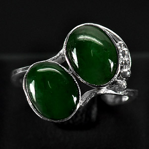 3.18 G. Nobly Natural Green Jade Sterling Silver Ring Size 6.5
