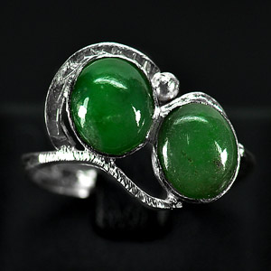 3.19 G. Seductive Natural Green Jade Sterling Silver Ring Size 8
