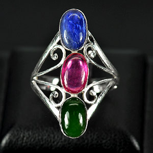 2.91 G. Natural Jade Ruby Sapphire 925 Sterling Silver Ring Size 7
