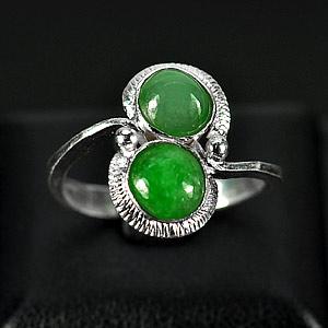 2.72 G. Alluring Natural Green Jade Sterling Silver Ring Size 7