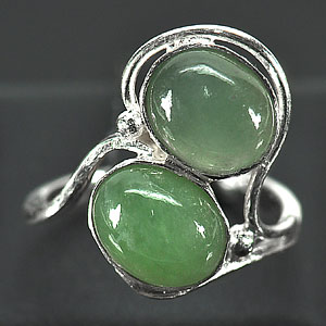 3.74 G. Natural Green Jade Sterling Silver Ring Size 6