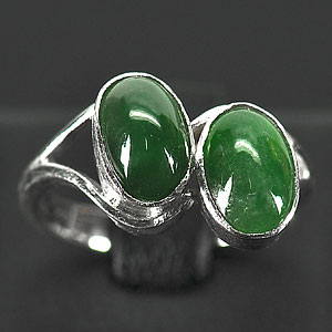 2.77 G. Attractive Natural Green Jade Sterling Silver Ring Size 5.5