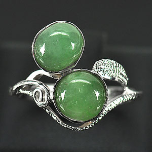 3.08 G. Nice Natural Green Jade Sterling Silver Ring Size 8