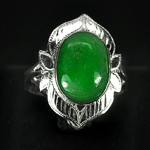 3.65 G. Natural Green Jade Sterling Silver Ring Size 7