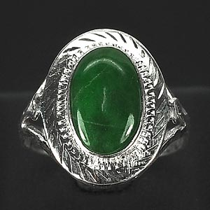 3.11 G. Natural Green Jade Sterling Silver Ring Size 8.5