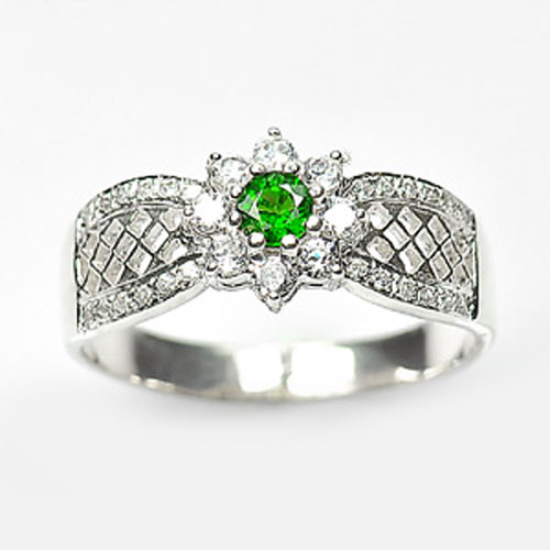 3.82 G. Natural Green Chrome Diopside 925 Sterling Silver Jewelry Ring Size 9.5