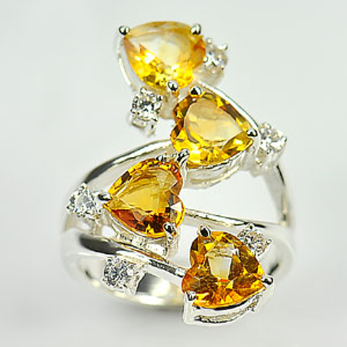 8.75 G. Natural Gem Yellow Citrine Real 925 Sterling Silver Jewelry Ring Size 6