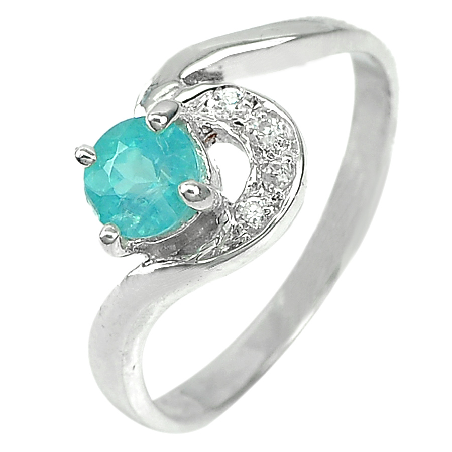 1.99 G. Natural Neon Blue Apatite Real 925 Sterling Silver Jewelry Ring Size 6.5