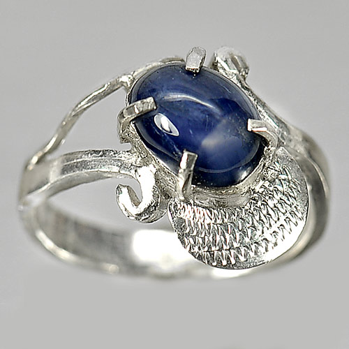 3.62 G. Natural Blue Star Sapphire 6 Rays 925 Silver Jewelry Ring Sz 8
