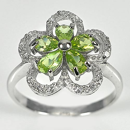 2.88 G. Pear Shape Natural Green Peridot Real 925 Silver Jewelry Ring Size 7