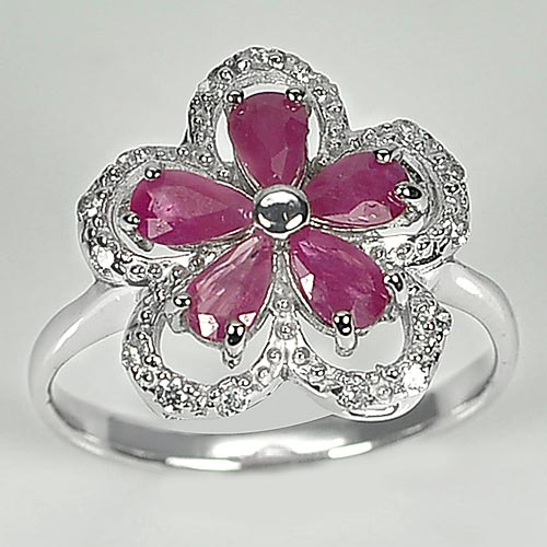 2.66 G. Natural Pear Shape Red Pink Ruby Real 925 Sterling Silver Ring Size 7.5