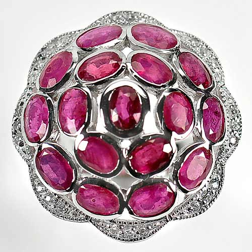 11.90 G. Natural Red Ruby Gems Real 925 Sterling Silver Jewelry Ring Size 7.5