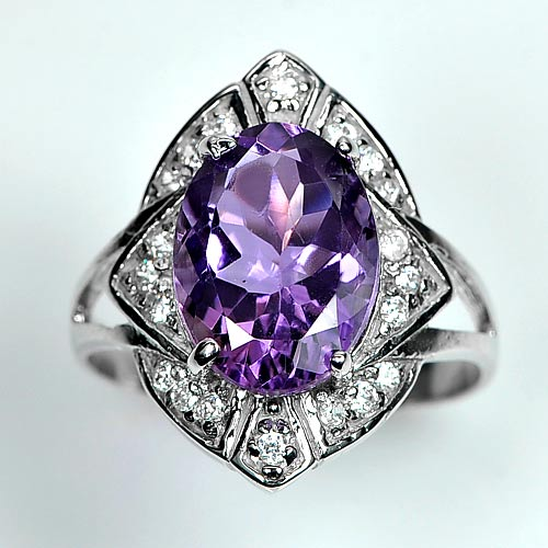 5.05 G. Natural Gemstone Purple Amethyst Real 925 Sterling Silver Rings Size 9.5