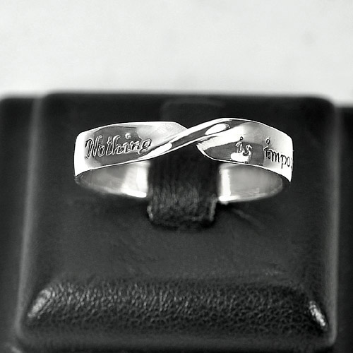 2.45 G. Good Real 925 Sterling Silver Nothing is impossible Band Ring Size 8.5