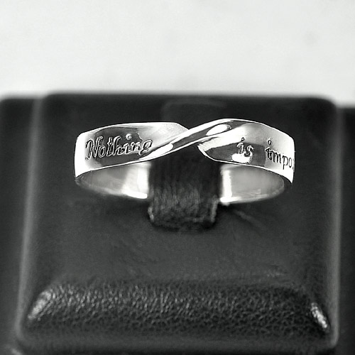 2.46 G. Good Real 925 Sterling Silver Nothing is impossible Band Ring Size 9.5
