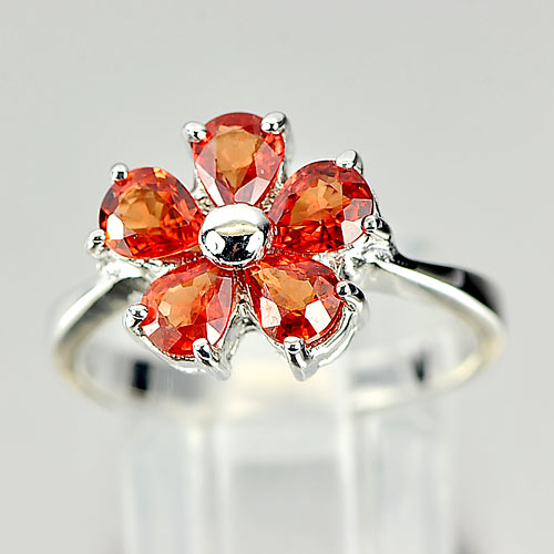 4.35 G. Natural Orange Songea Sapphire Real 925 Sterling Silver Ring Size 7.5
